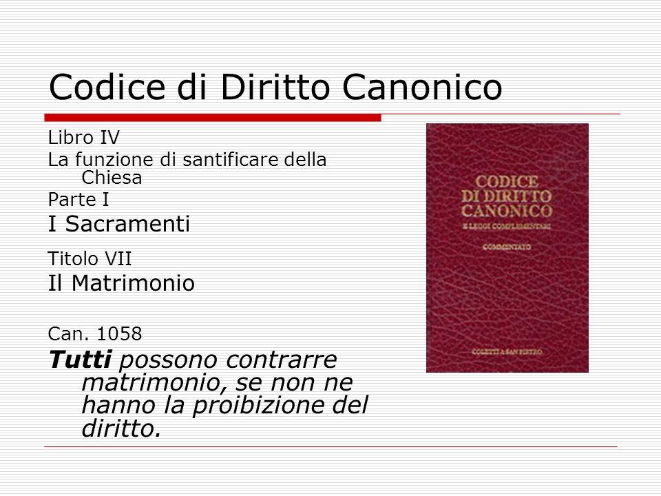 Codice di Diritto Canonico Libro IV La funzione di santificare della Chiesa Parte I I Sacramenti Titolo VII Il Matrimonio Can. 1058 Tutti possono cont