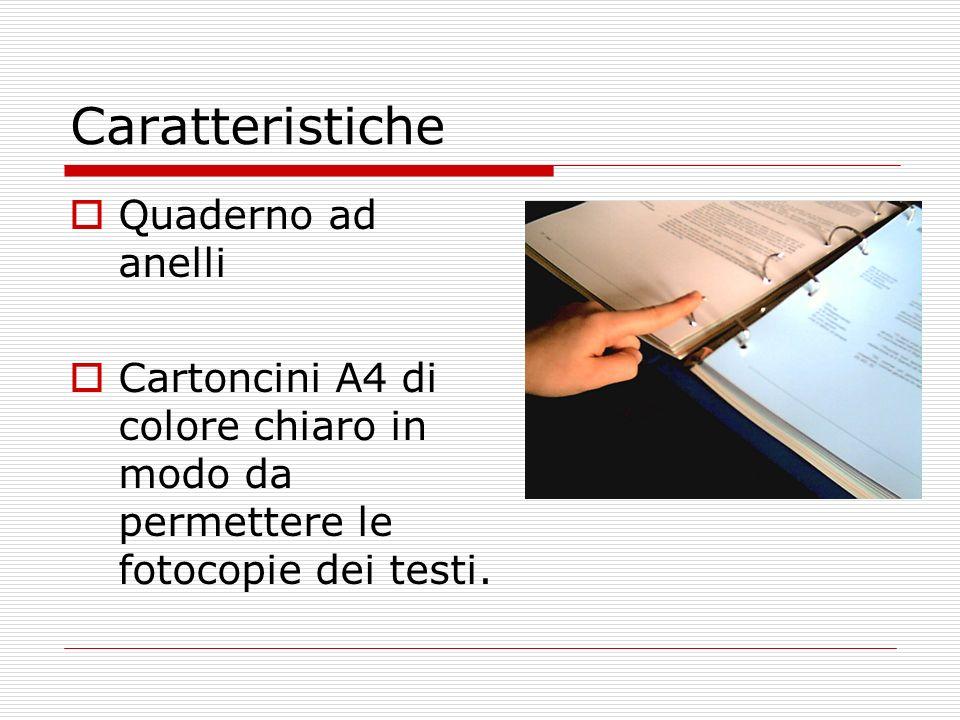 Caratteristiche Quaderno ad anelli Cartoncini A4 di colore chiaro in modo da permettere le fotocopie dei testi.