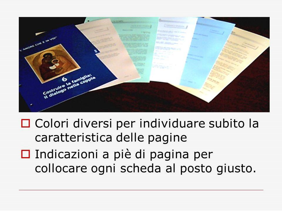 Colori diversi per individuare subito la caratteristica delle pagine Indicazioni a piè di pagina per collocare ogni scheda al posto giusto.