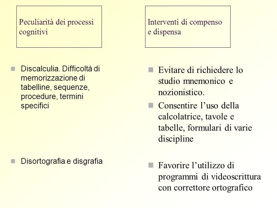 Peculiarità dei processi cognitivi Discalculia. Difficoltà di memorizzazione di tabelline, sequenze, procedure, termini specifici Disortografia e disg