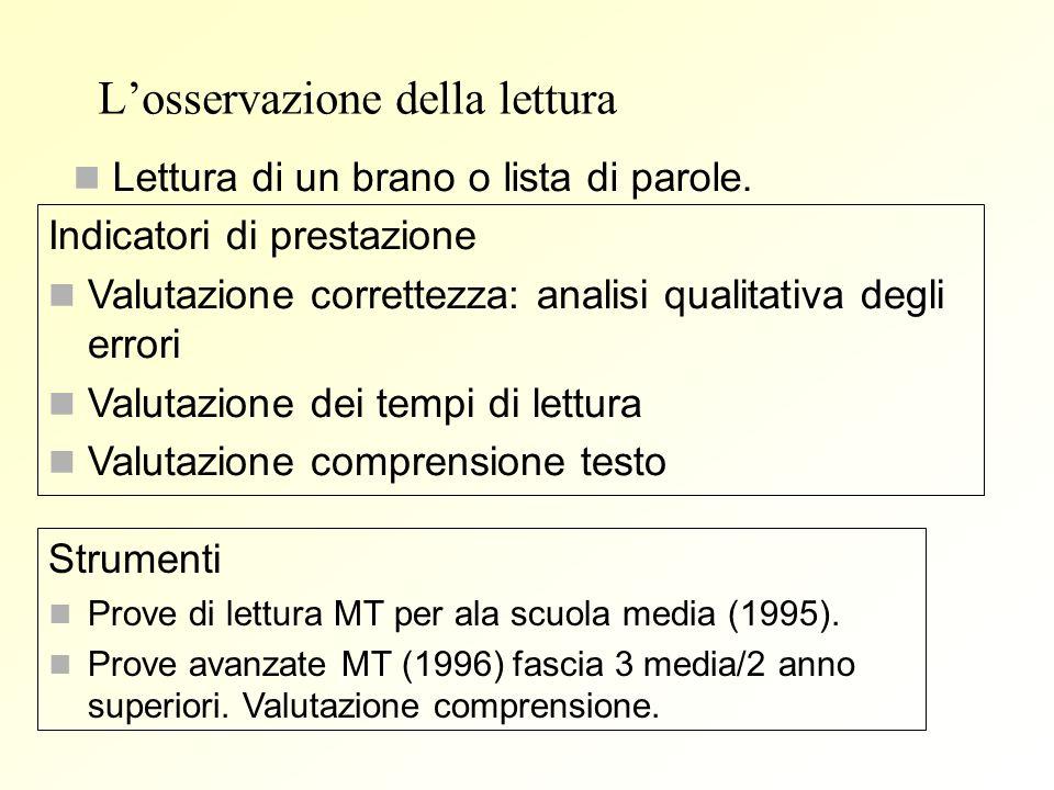 Losservazione della lettura Lettura di un brano o lista di parole. Indicatori di prestazione Valutazione correttezza: analisi qualitativa degli errori