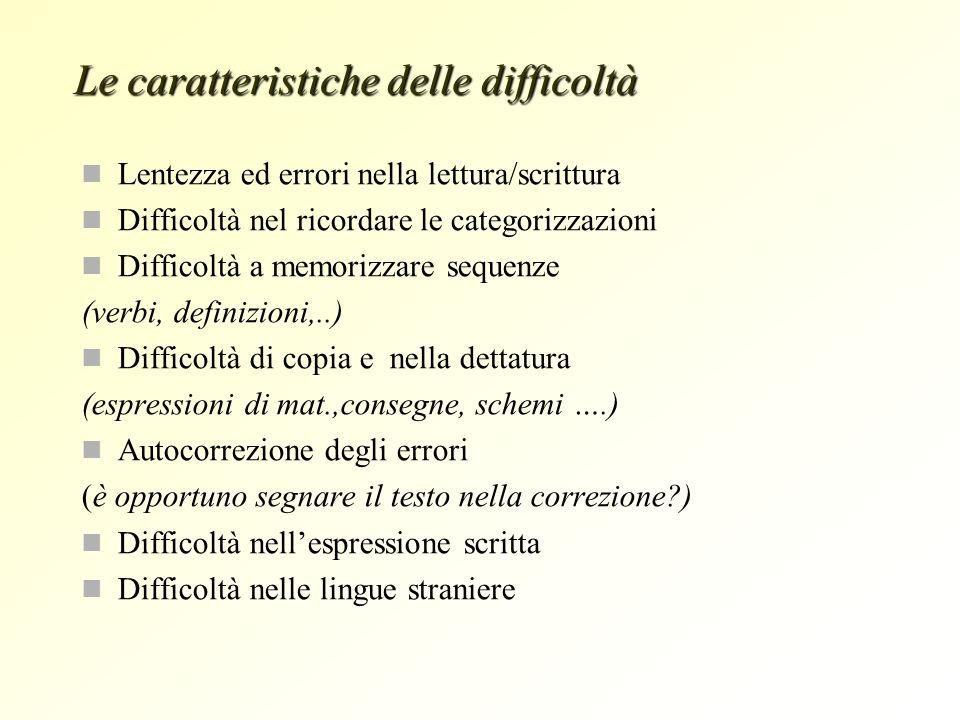 Lentezza ed errori nella lettura/scrittura Difficoltà nel ricordare le categorizzazioni Difficoltà a memorizzare sequenze (verbi, definizioni,..) Diff