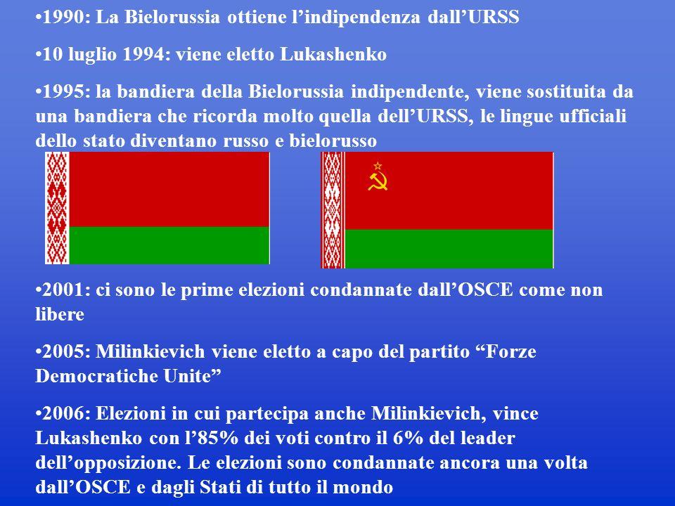 1990: La Bielorussia ottiene lindipendenza dallURSS 10 luglio 1994: viene eletto Lukashenko 1995: la bandiera della Bielorussia indipendente, viene sostituita da una bandiera che ricorda molto quella dellURSS, le lingue ufficiali dello stato diventano russo e bielorusso 2001: ci sono le prime elezioni condannate dallOSCE come non libere 2005: Milinkievich viene eletto a capo del partito Forze Democratiche Unite 2006: Elezioni in cui partecipa anche Milinkievich, vince Lukashenko con l85% dei voti contro il 6% del leader dellopposizione.
