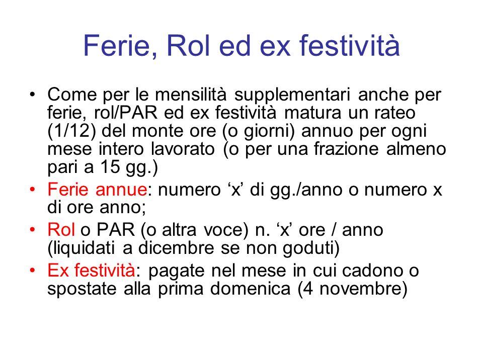 Ferie, Rol ed ex festività Come per le mensilità supplementari anche per ferie, rol/PAR ed ex festività matura un rateo (1/12) del monte ore (o giorni