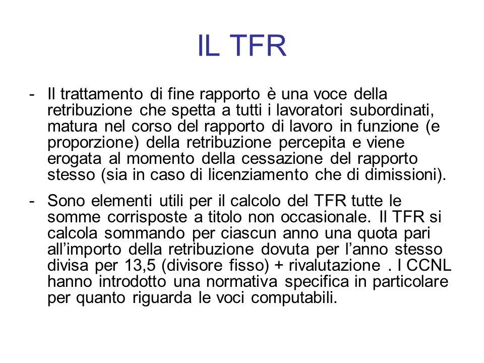 IL TFR -Il trattamento di fine rapporto è una voce della retribuzione che spetta a tutti i lavoratori subordinati, matura nel corso del rapporto di la