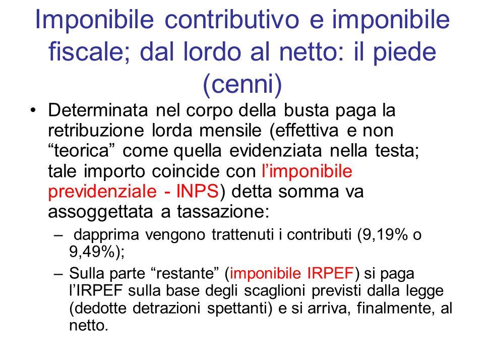 Imponibile contributivo e imponibile fiscale; dal lordo al netto: il piede (cenni) Determinata nel corpo della busta paga la retribuzione lorda mensil