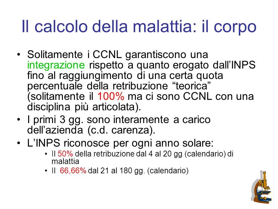 Il calcolo della malattia: il corpo Solitamente i CCNL garantiscono una integrazione rispetto a quanto erogato dallINPS fino al raggiungimento di una