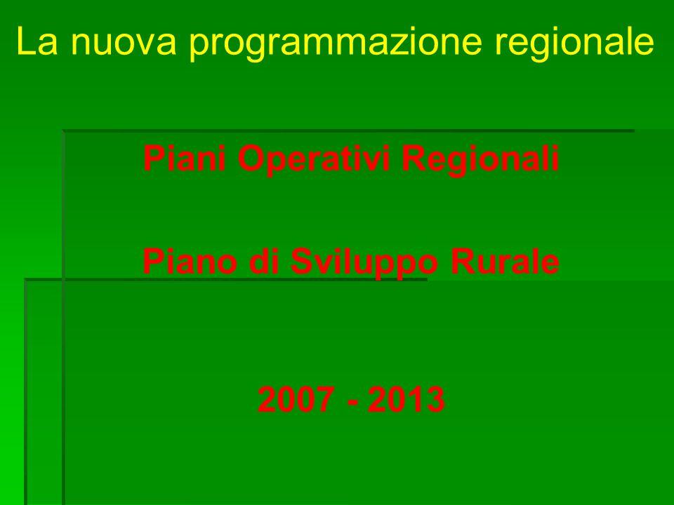 La nuova programmazione regionale Piani Operativi Regionali Piano di Sviluppo Rurale 2007 - 2013