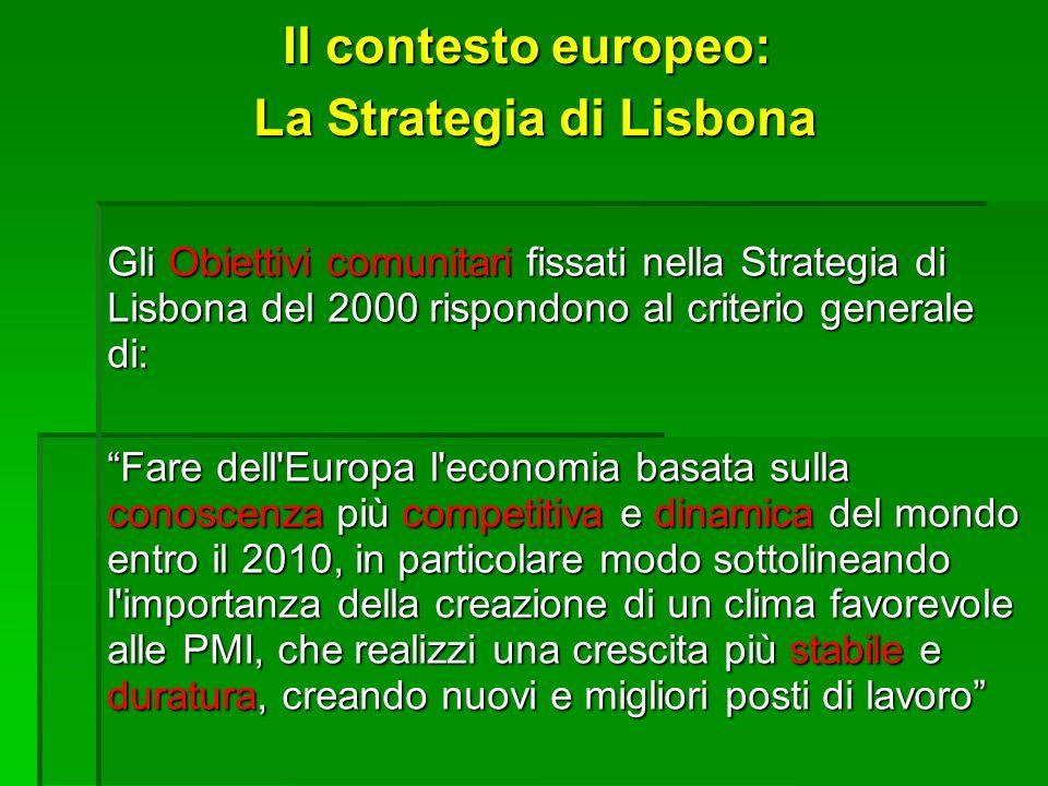 Il contesto europeo: La Strategia di Lisbona Gli Obiettivi comunitari fissati nella Strategia di Lisbona del 2000 rispondono al criterio generale di: Fare dell Europa l economia basata sulla conoscenza più competitiva e dinamica del mondo entro il 2010, in particolare modo sottolineando l importanza della creazione di un clima favorevole alle PMI, che realizzi una crescita più stabile e duratura, creando nuovi e migliori posti di lavoro