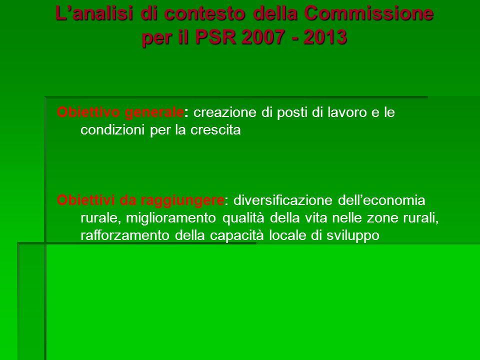 Lanalisi di contesto della Commissione per il PSR 2007 - 2013 Obiettivo generale: creazione di posti di lavoro e le condizioni per la crescita Obiettivi da raggiungere: diversificazione delleconomia rurale, miglioramento qualità della vita nelle zone rurali, rafforzamento della capacità locale di sviluppo