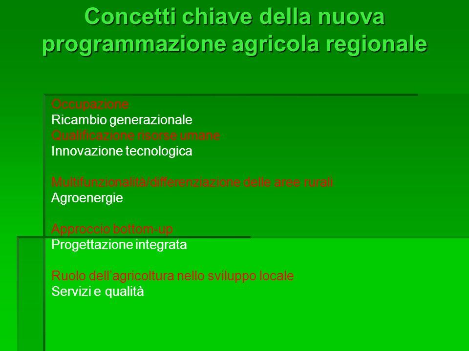 Concetti chiave della nuova programmazione agricola regionale Occupazione Ricambio generazionale Qualificazione risorse umane Innovazione tecnologica Multifunzionalità/differenziazione delle aree rurali Agroenergie Approccio bottom-up Progettazione integrata Ruolo dellagricoltura nello sviluppo locale Servizi e qualità