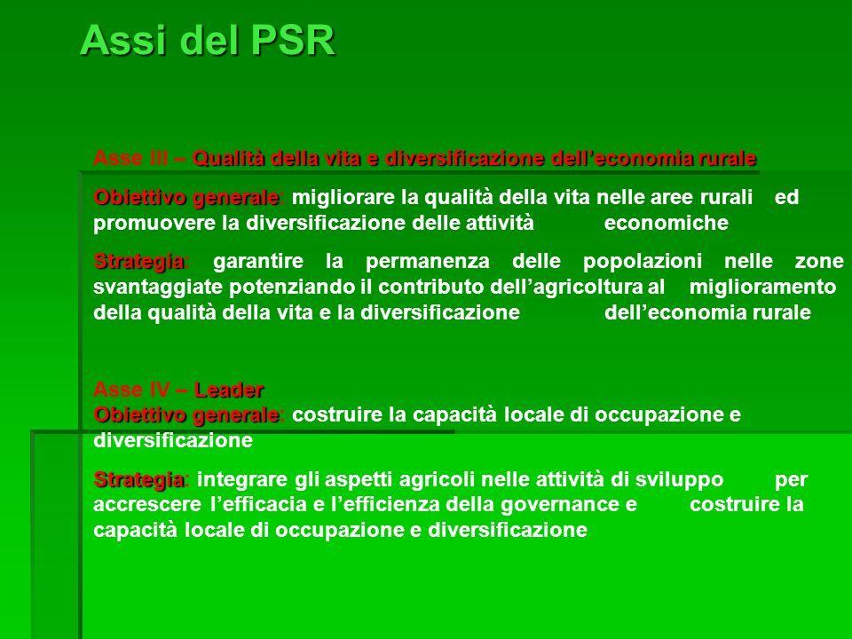 Assi del PSR Qualità della vita e diversificazione delleconomia rurale Asse III – Qualità della vita e diversificazione delleconomia rurale Obiettivo