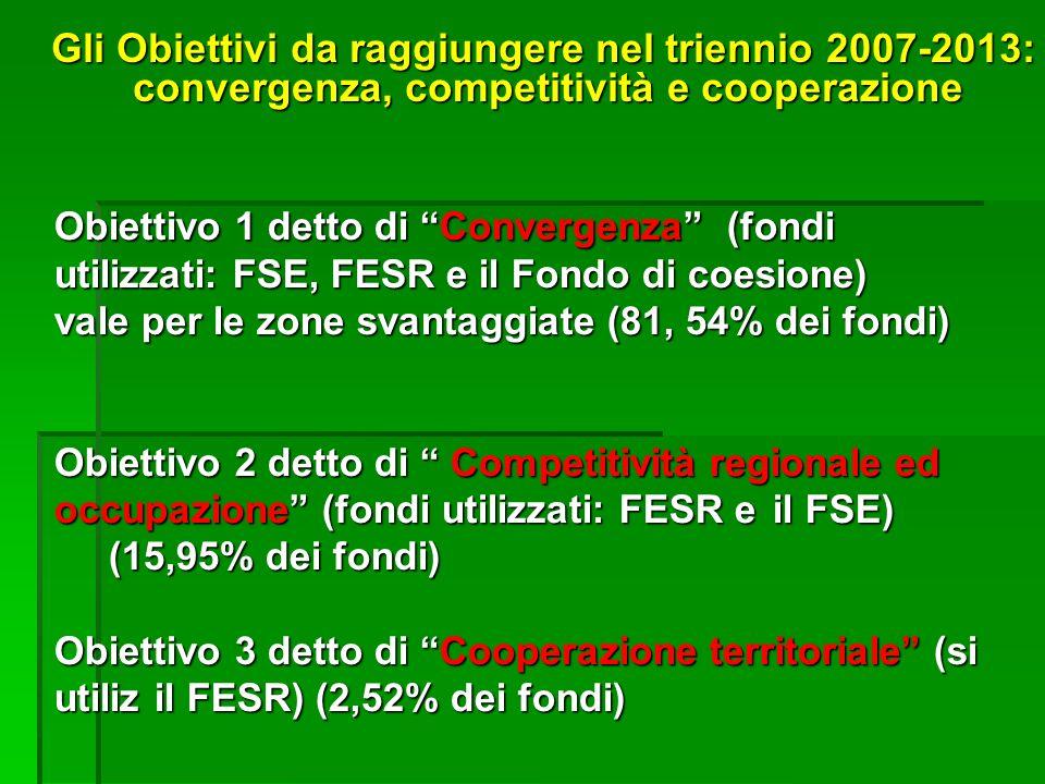 Obiettivo 1 detto di Convergenza (fondi utilizzati: FSE, FESR e il Fondo di coesione) vale per le zone svantaggiate (81, 54% dei fondi) Obiettivo 2 detto di Competitività regionale ed occupazione (fondi utilizzati:FESR e il FSE) (15,95% dei fondi) Obiettivo 3 detto di Cooperazione territoriale (si utiliz il FESR) (2,52% dei fondi) Gli Obiettivi da raggiungere nel triennio 2007-2013: convergenza, competitività e cooperazione convergenza, competitività e cooperazione