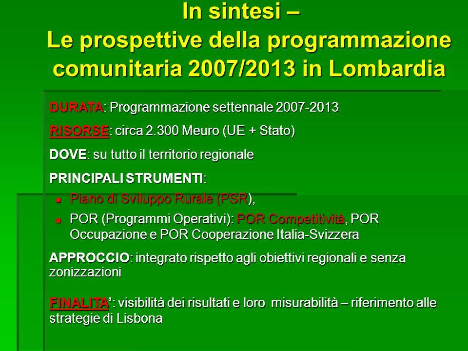 In sintesi – Le prospettive della programmazione comunitaria 2007/2013 in Lombardia DURATA: Programmazione settennale 2007-2013 RISORSE: circa 2.300 M