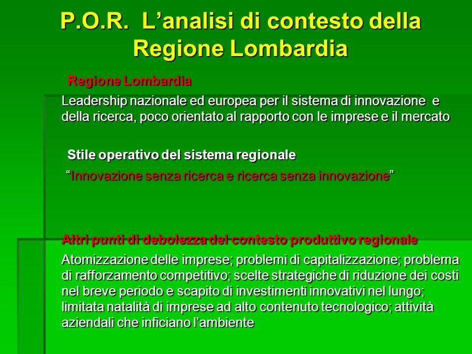 P.O.R. Lanalisi di contesto della Regione Lombardia Regione Lombardia Leadership nazionale ed europea per il sistema di innovazione e della ricerca, p
