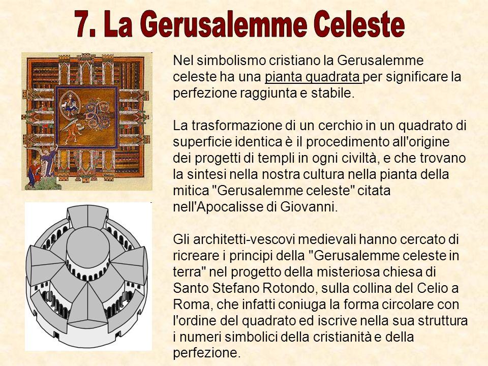 Nel simbolismo cristiano la Gerusalemme celeste ha una pianta quadrata per significare la perfezione raggiunta e stabile. La trasformazione di un cerc