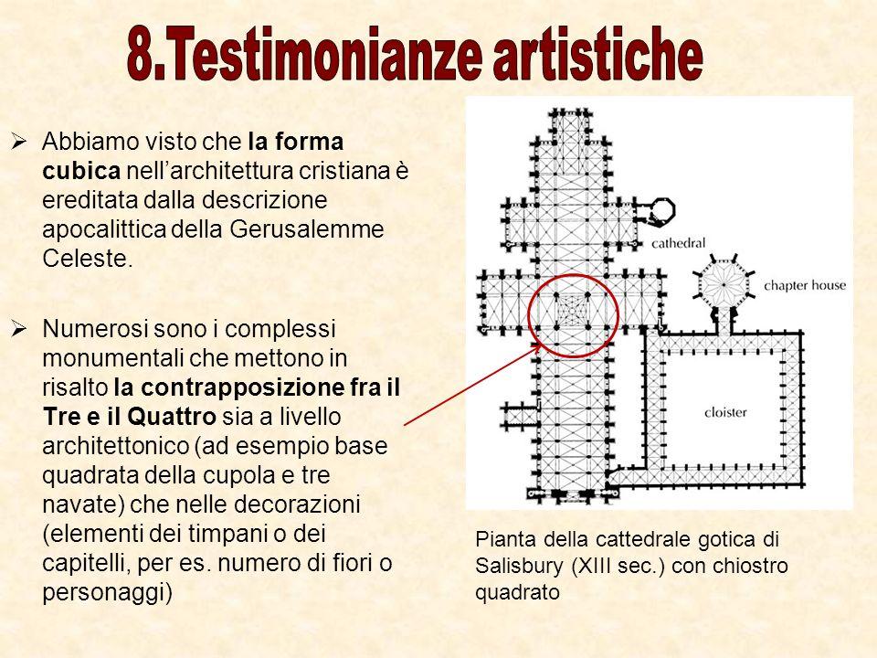 Abbiamo visto che la forma cubica nellarchitettura cristiana è ereditata dalla descrizione apocalittica della Gerusalemme Celeste. Numerosi sono i com