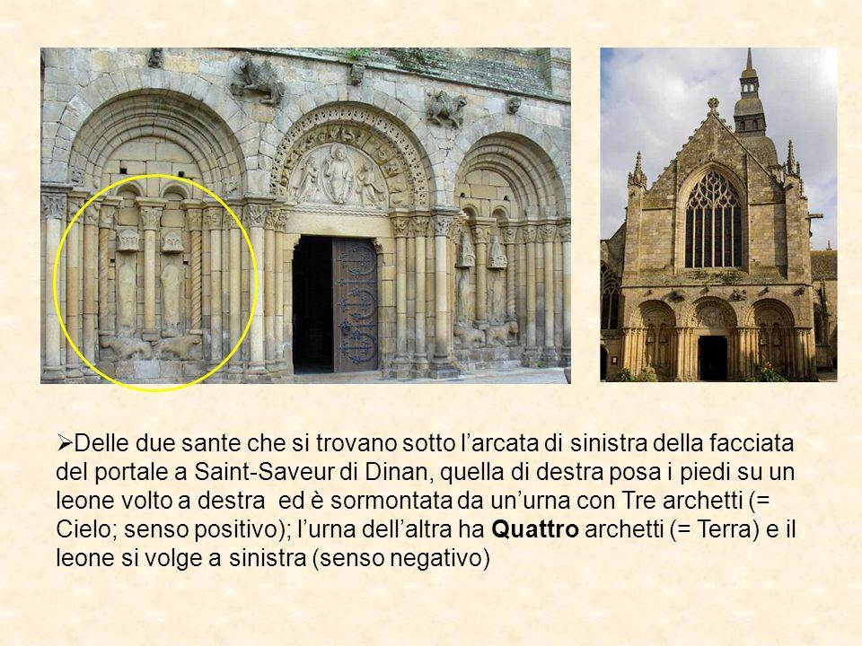 Delle due sante che si trovano sotto larcata di sinistra della facciata del portale a Saint-Saveur di Dinan, quella di destra posa i piedi su un leone