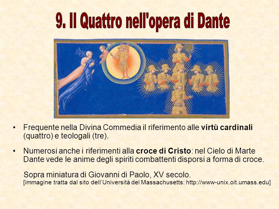 Frequente nella Divina Commedia il riferimento alle virtù cardinali (quattro) e teologali (tre). Numerosi anche i riferimenti alla croce di Cristo: ne