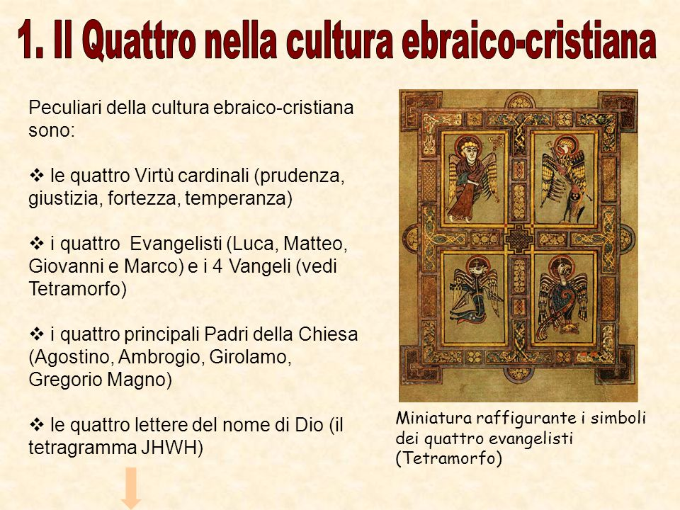 Peculiari della cultura ebraico-cristiana sono: le quattro Virtù cardinali (prudenza, giustizia, fortezza, temperanza) i quattro Evangelisti (Luca, Ma