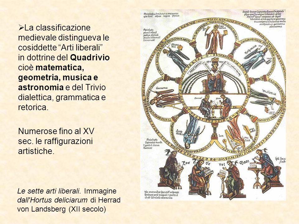 La classificazione medievale distingueva le cosiddette Arti liberali in dottrine del Quadrivio cioè matematica, geometria, musica e astronomia e del T