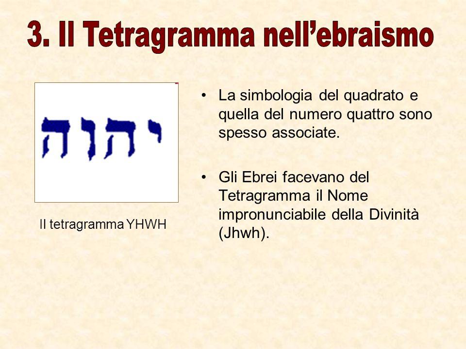 La simbologia del quadrato e quella del numero quattro sono spesso associate. Gli Ebrei facevano del Tetragramma il Nome impronunciabile della Divinit