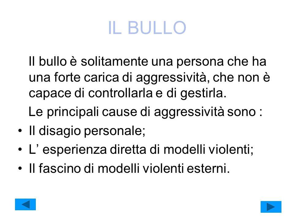 IL BULLO Il bullo è solitamente una persona che ha una forte carica di aggressività, che non è capace di controllarla e di gestirla. Le principali cau