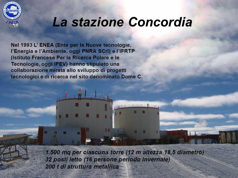 La stazione Concordia 1.500 mq per ciascuna torre (12 m altezza 18,5 diametro) 32 posti letto (16 persone periodo invernale) 200 t di struttura metall