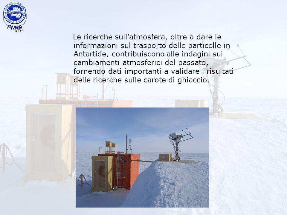 Le ricerche sullatmosfera, oltre a dare le informazioni sul trasporto delle particelle in Antartide, contribuiscono alle indagini sui cambiamenti atmo