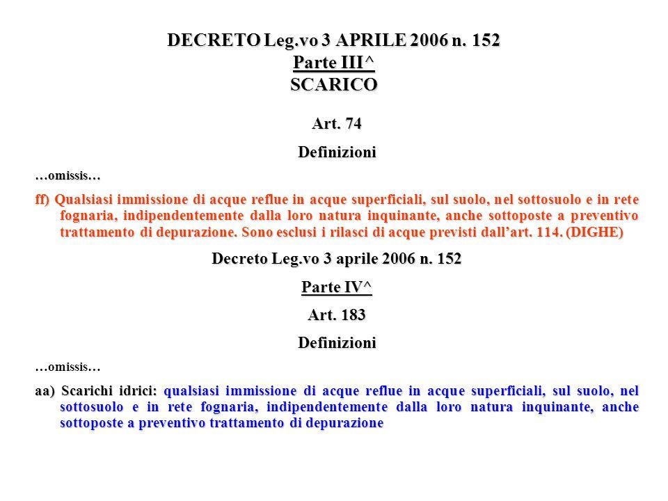 DECRETO Leg.vo 3 APRILE 2006 n. 152 Parte III^ SCARICO Art. 74 Definizioni…omissis… ff) Qualsiasi immissione di acque reflue in acque superficiali, su