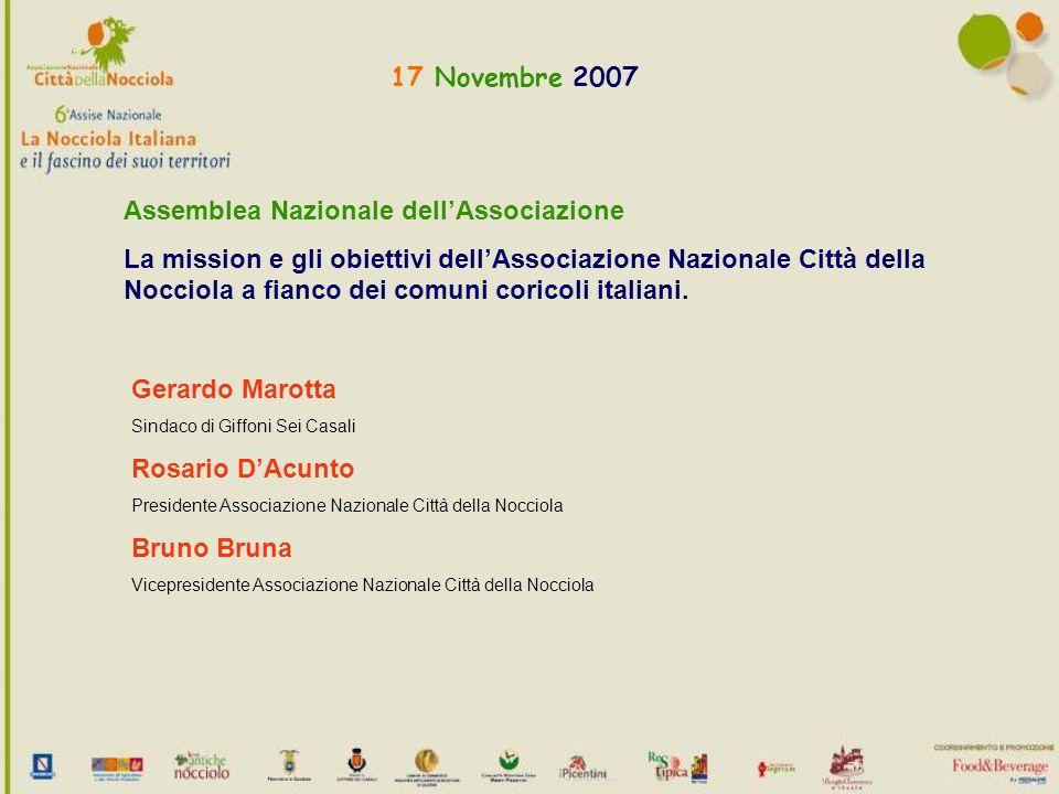 17 Novembre 2007 Assemblea Nazionale dellAssociazione La mission e gli obiettivi dellAssociazione Nazionale Città della Nocciola a fianco dei comuni coricoli italiani.