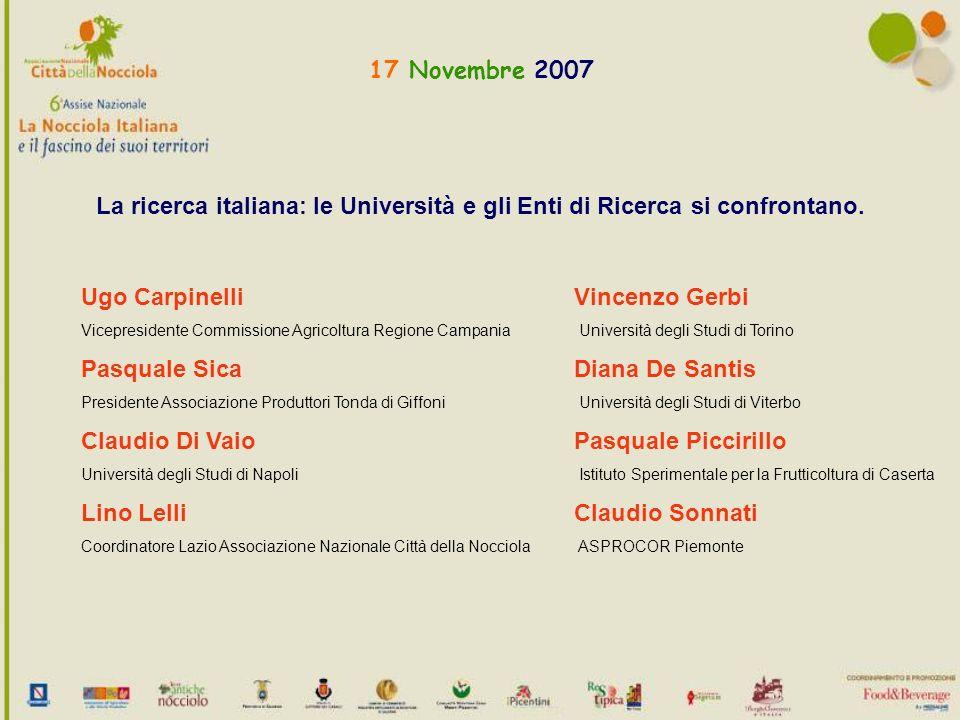 17 Novembre 2007 La ricerca italiana: le Università e gli Enti di Ricerca si confrontano.