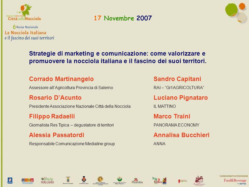 17 Novembre 2007 Strategie di marketing e comunicazione: come valorizzare e promuovere la nocciola italiana e il fascino dei suoi territori.
