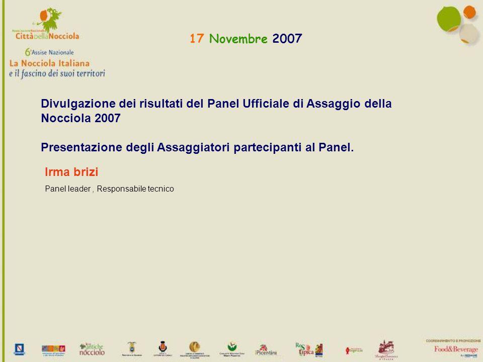 17 Novembre 2007 Divulgazione dei risultati del Panel Ufficiale di Assaggio della Nocciola 2007 Presentazione degli Assaggiatori partecipanti al Panel.