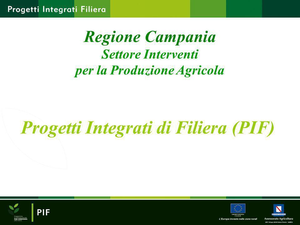 Progetti Integrati di Filiera (PIF) Regione Campania Settore Interventi per la Produzione Agricola