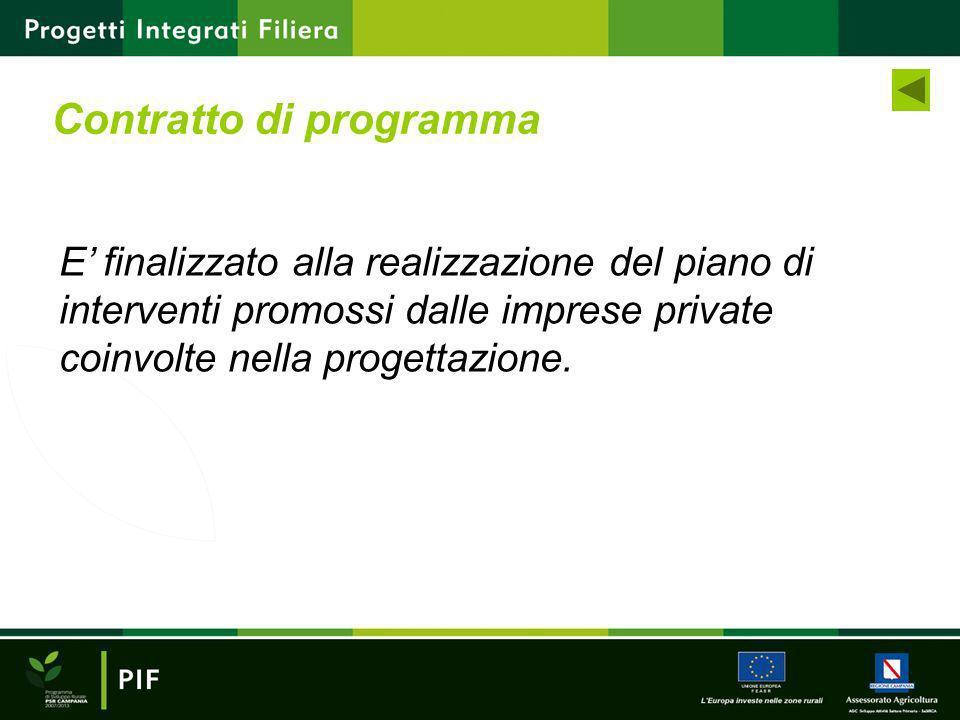E finalizzato alla realizzazione del piano di interventi promossi dalle imprese private coinvolte nella progettazione. Contratto di programma