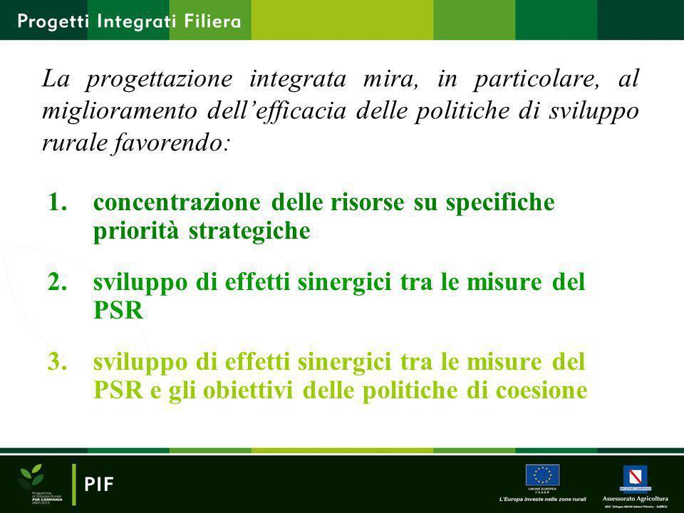 La progettazione integrata mira, in particolare, al miglioramento dellefficacia delle politiche di sviluppo rurale favorendo: 1.concentrazione delle r