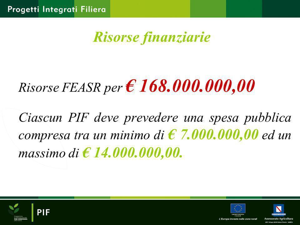 Risorse finanziarie Risorse FEASR per 168.000.000,00 Ciascun PIF deve prevedere una spesa pubblica compresa tra un minimo di 7.000.000,00 ed un massim