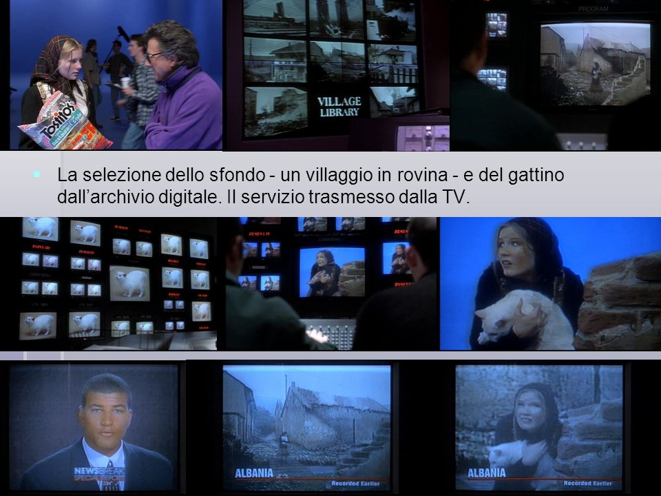 La selezione dello sfondo - un villaggio in rovina - e del gattino dallarchivio digitale. Il servizio trasmesso dalla TV.