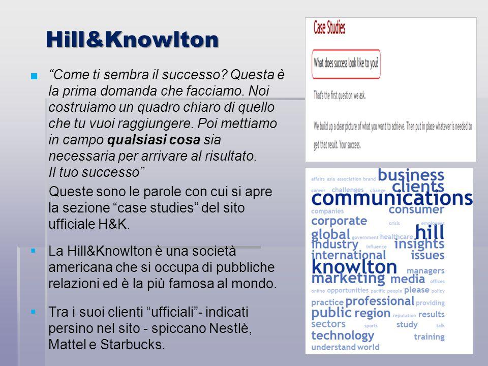 Hill&Knowlton Come ti sembra il successo? Questa è la prima domanda che facciamo. Noi costruiamo un quadro chiaro di quello che tu vuoi raggiungere. P