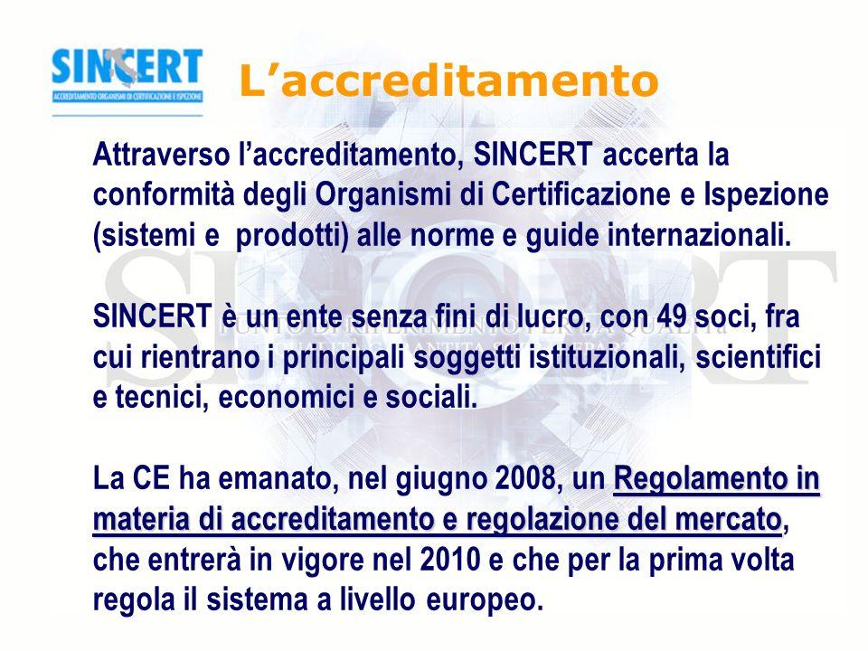 Laccreditamento Attraverso laccreditamento, SINCERT accerta la conformità degli Organismi di Certificazione e Ispezione (sistemi e prodotti) alle norme e guide internazionali.