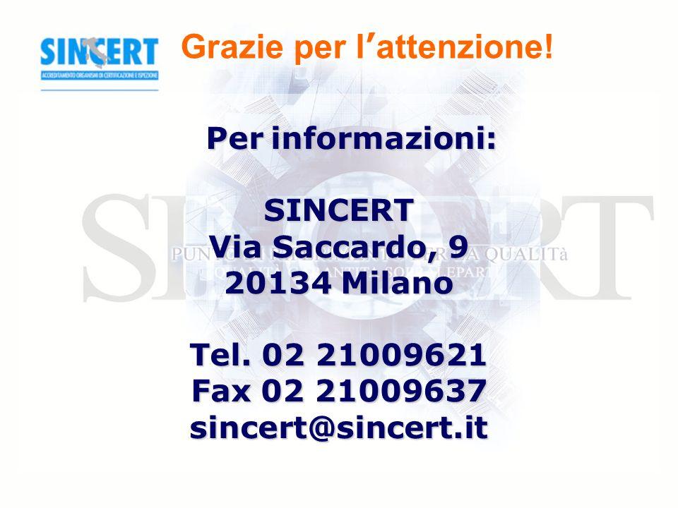 Grazie per l attenzione. Per informazioni: SINCERT Via Saccardo, 9 20134 Milano Tel.