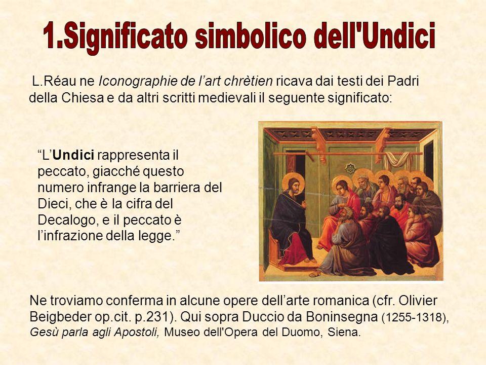 L.Réau ne Iconographie de lart chrètien ricava dai testi dei Padri della Chiesa e da altri scritti medievali il seguente significato: LUndici rapprese