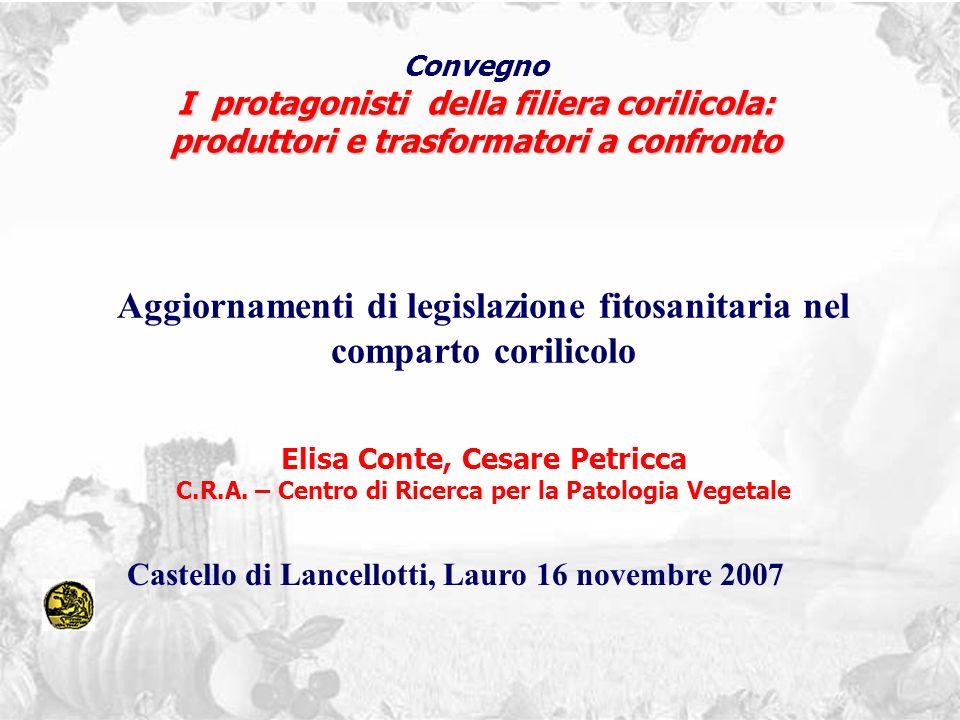Convegno I protagonisti della filiera corilicola: produttori e trasformatori a confronto Aggiornamenti di legislazione fitosanitaria nel comparto cori
