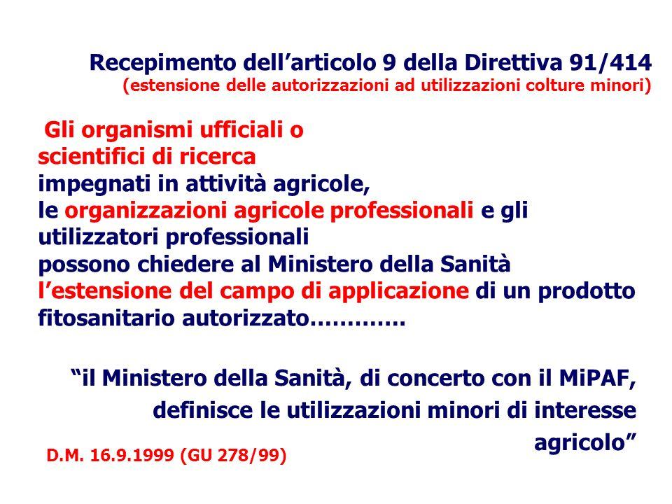 Recepimento dellarticolo 9 della Direttiva 91/414 (estensione delle autorizzazioni ad utilizzazioni colture minori) Gli organismi ufficiali o scientif