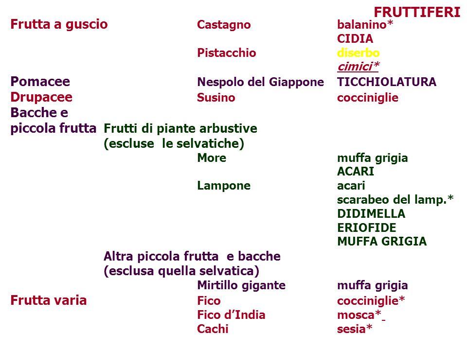 Frutta a guscio Castagnobalanino* CIDIA Pistacchiodiserbo cimici* Pomacee Nespolo del GiapponeTICCHIOLATURA Drupacee Susinococciniglie Bacche e piccol