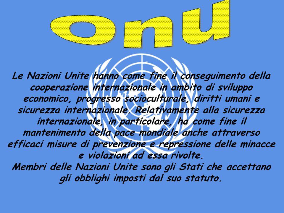 Le Nazioni Unite hanno come fine il conseguimento della cooperazione internazionale in ambito di sviluppo economico, progresso socioculturale, diritti