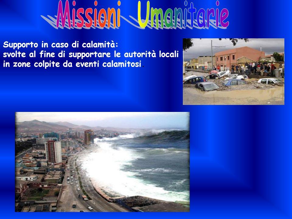 Supporto in caso di calamità: svolte al fine di supportare le autorità locali in zone colpite da eventi calamitosi.