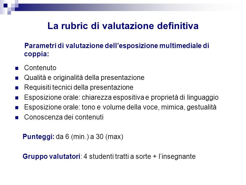 Parametri di valutazione dellesposizione multimediale di coppia: Contenuto Qualità e originalità della presentazione Requisiti tecnici della presentaz