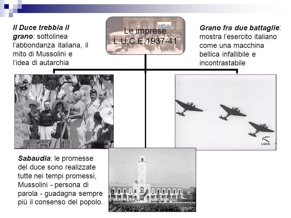 Le imprese L.U.C.E.1937- 41 Il Duce trebbia il grano: sottolinea labbondanza italiana, il mito di Mussolini e lidea di autarchia Grano fra due battagl